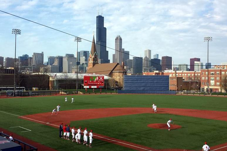 Northwestern and UIC square off under the Chicago skyline. The Wildcats bested their crosstown rival thanks to a strong team pitching performance.