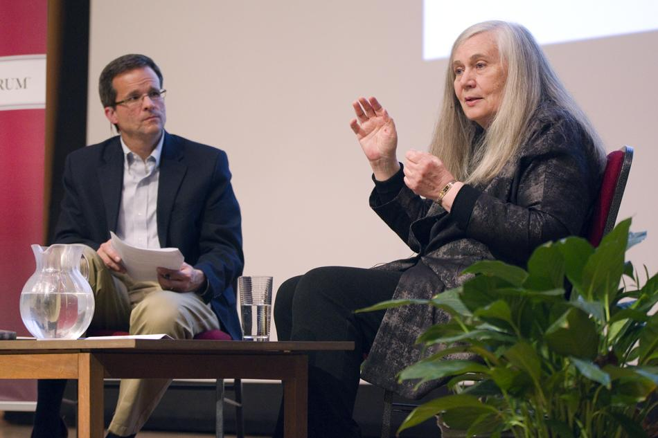 Author Marilynne Robinson and University of Pennsylvania professor David Skeel discuss beauty, science, religion and the writing process Wednesday. Robinson, a Pulitzer Prize-winning author, spoke at this year's The Veritas Forum.