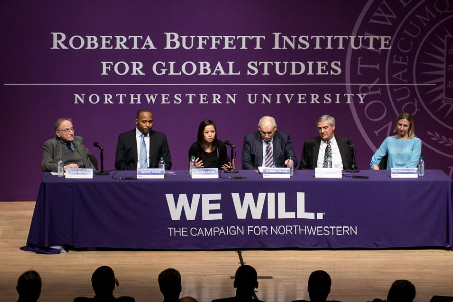 A panel discusses global issues at the January announcement of Roberta Buffett Elliott's more than $100 million gift to Northwestern. The Buffett Institute for Global Studies is using part of that gift to expanded its scholarship and research programs.