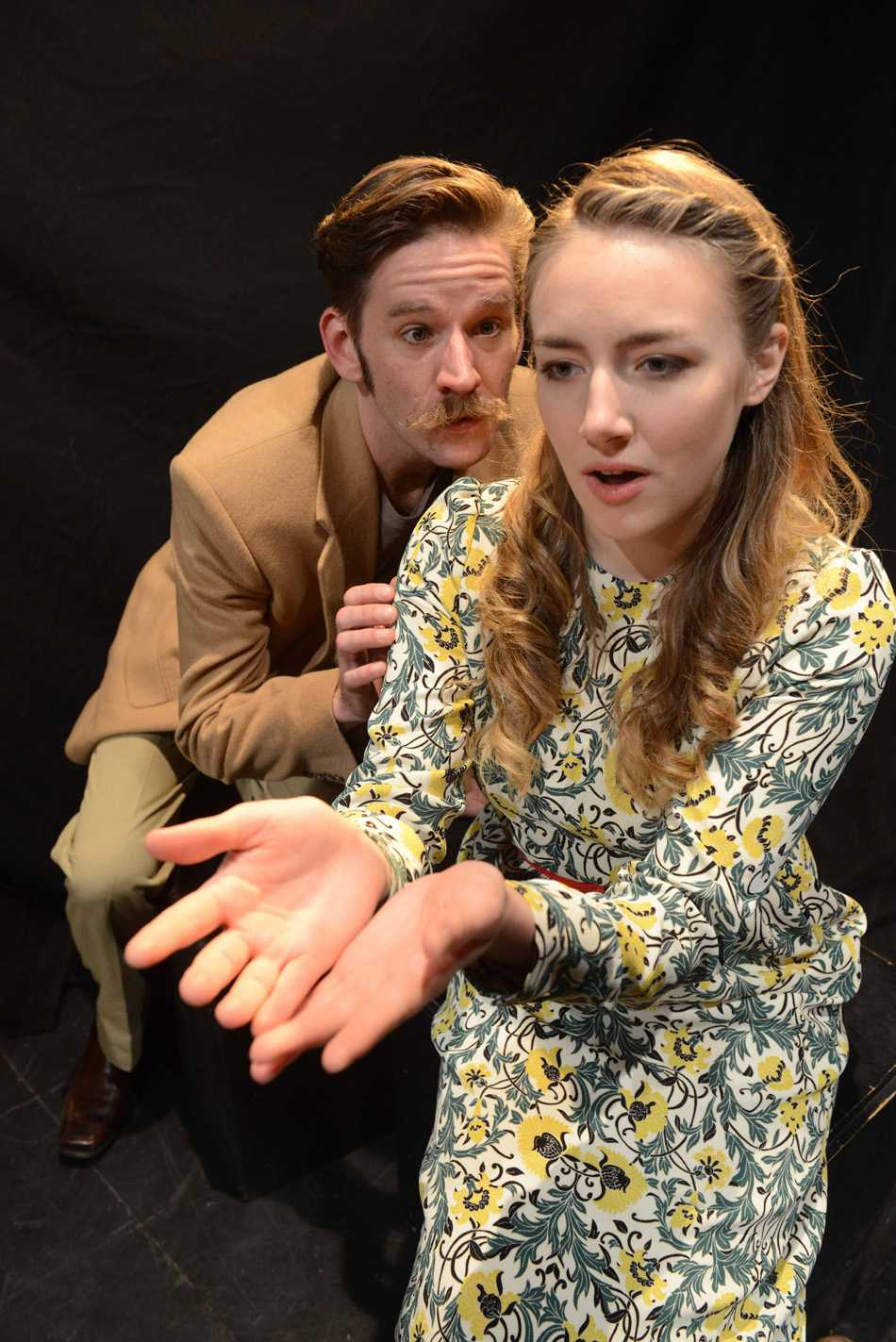 "Ryan Lanning (Lorenzo) and Stephanie Stockstill (Tilly) perform in ""Melancholy Play: a chamber musical."" The show, which was originally a play, has been adapted to include musical components."