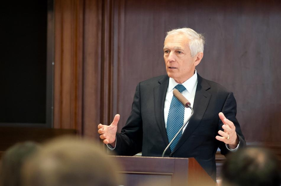 Retired four-star Gen. Wesley Clark speaks Thursday in Harris Hall at an event hosted by Buffett Institute for Global Studies. Clark urged for immediate U.S. military support in Ukraine.