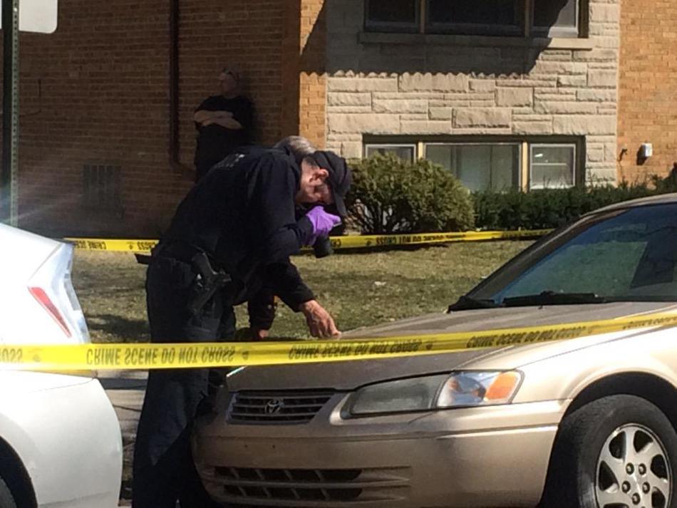 Evanston police examine the car hit by a stray bullet in the 300 block of Custer Avenue. Two men were later arrested in connection with shots fired calls.