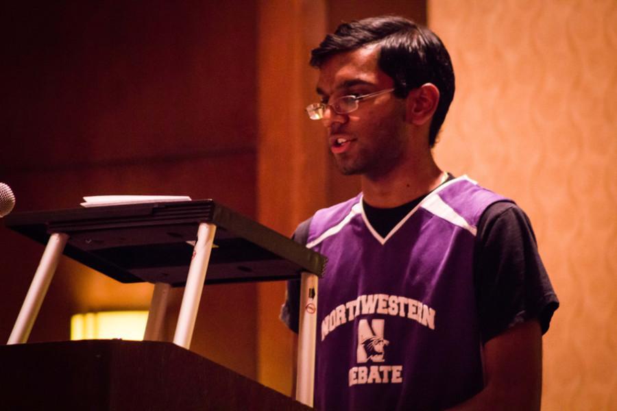 Arjun Vellayappan speaks during this year's National Debate Tournament. Vellayappan and his debate partner Alex Miles won this year's national tournament, the 15th victory at that tournament in Northwestern's history.