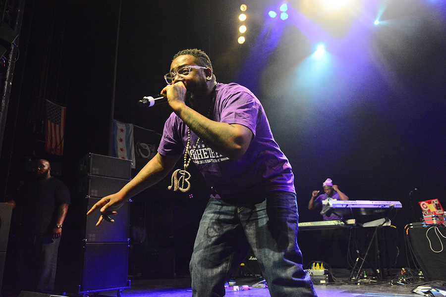Wearing Northwestern apparel, T-Pain performs at A&O Ball on Friday in front of a full crowd. T-Pain headlined the concert with British electronic group AlunaGeorge opening the event at the Riviera Theatre.
