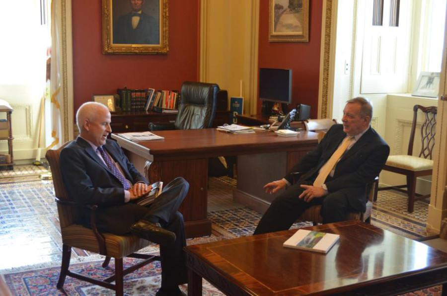 University President Morton Schapiro and Sen. Dick Durbin (D-Ill.) meet. Schapiro spoke to Durbin about federal funds for university research, which Durbin introduced bills about in recent weeks.