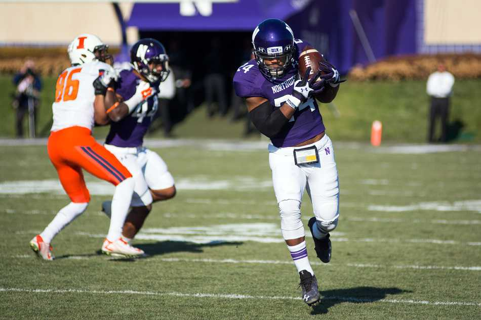 Ibraheim Campbell returns an interception against Illinois. The safety is likely to be the first Northwestern player selected in the NFL Draft.