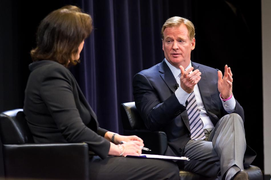NFL Commissioner Roger Goodell answers a question from Medill alumna Christine Brennan at Northwestern on Wednesday evening. Goodell, who is in Chicago for the NFL draft, fielded questions from students on topics ranging from the NFL's role in fighting sexual assault to plans to grow the game domestically and abroad.