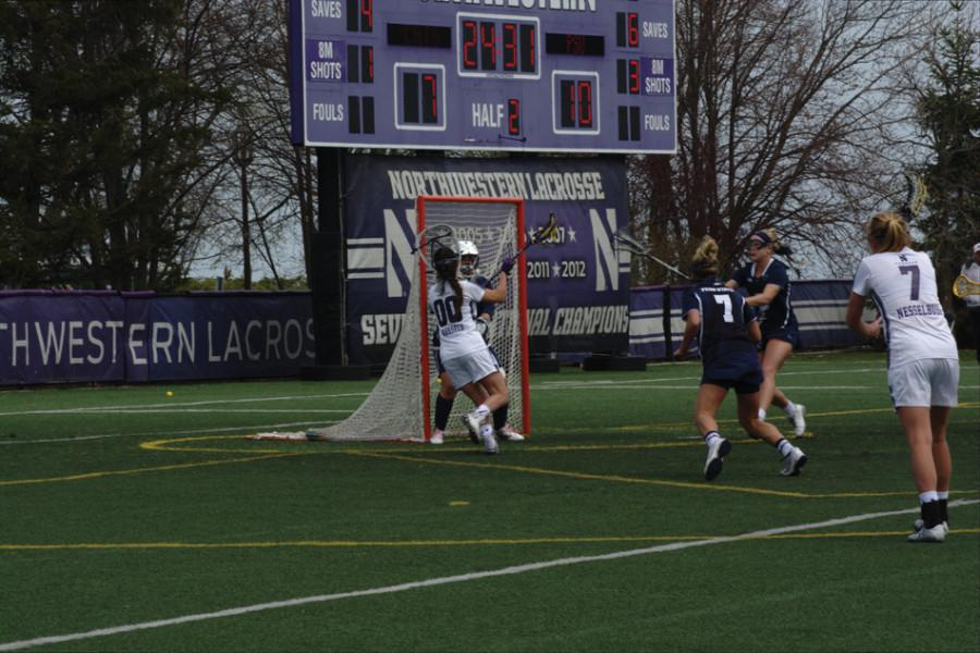 Corinne+Wessels+finds+the+back+of+the+net.+The+freshman+had+2+goals+off+the+bench+in+Northwestern%E2%80%99s+losing+effort.