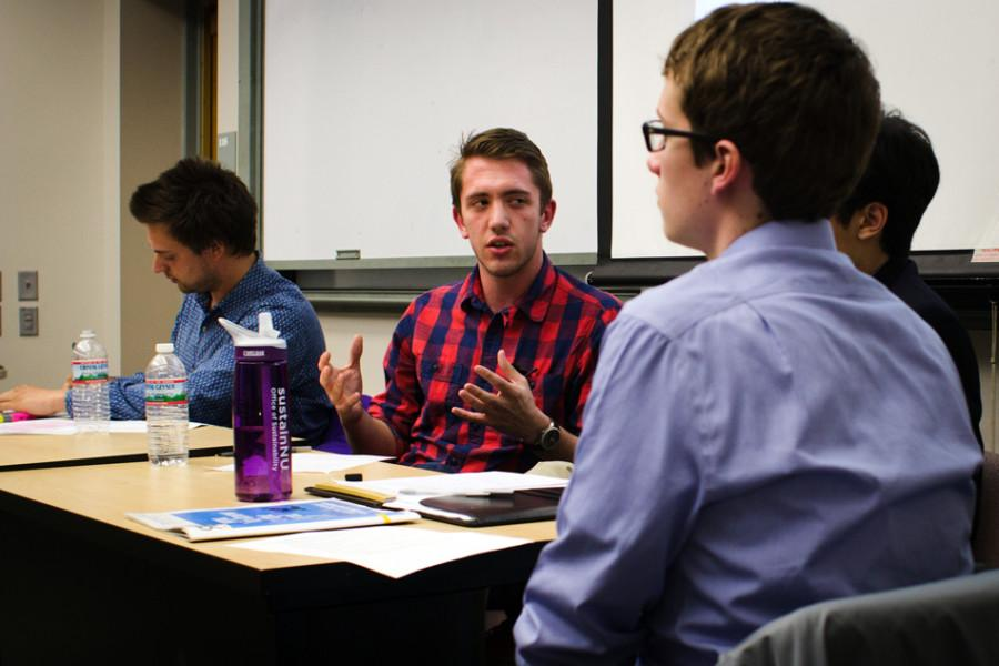 "Communication sophomore Matt Fulle speaks in support of Mayor Rahm Emanuel at a panel about the mayoral runoff election hosted by the Center for Civic Engagement and Political Union. The center hosted the event to inform students about the unprecedented runoff election between Emanuel and Cook County Commissioner Jesus ""Chuy"" Garcia."