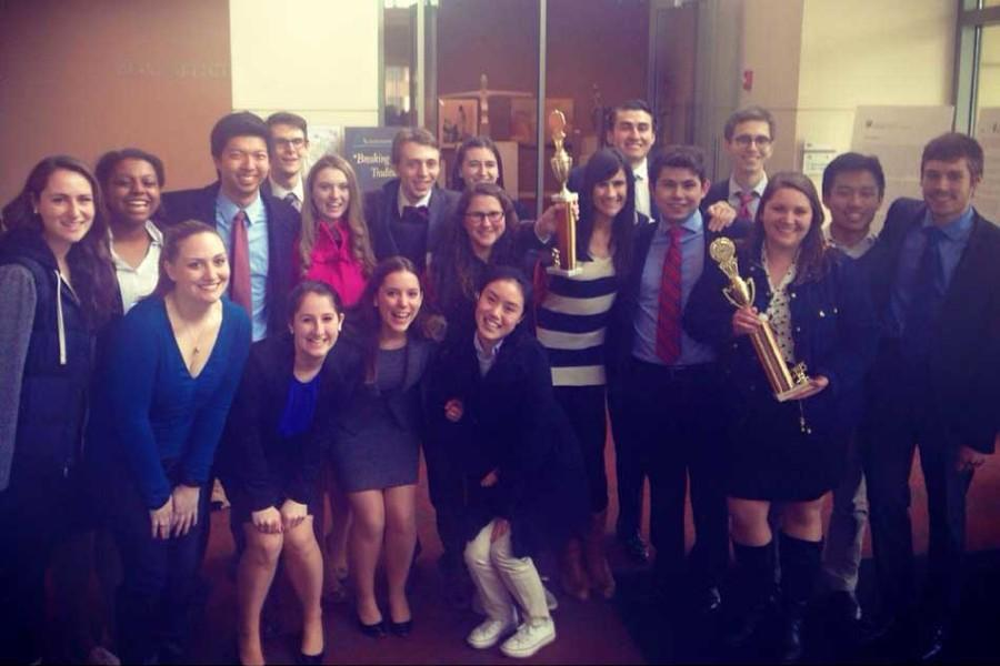 Northwestern's Mock Trial A-team and B-team pose after a competition in Naperville, Illinois, last month. The two teams will be competing with 46 other teams in the American Mock Trial Association's National Championship Tournament in Cincinnati this month.