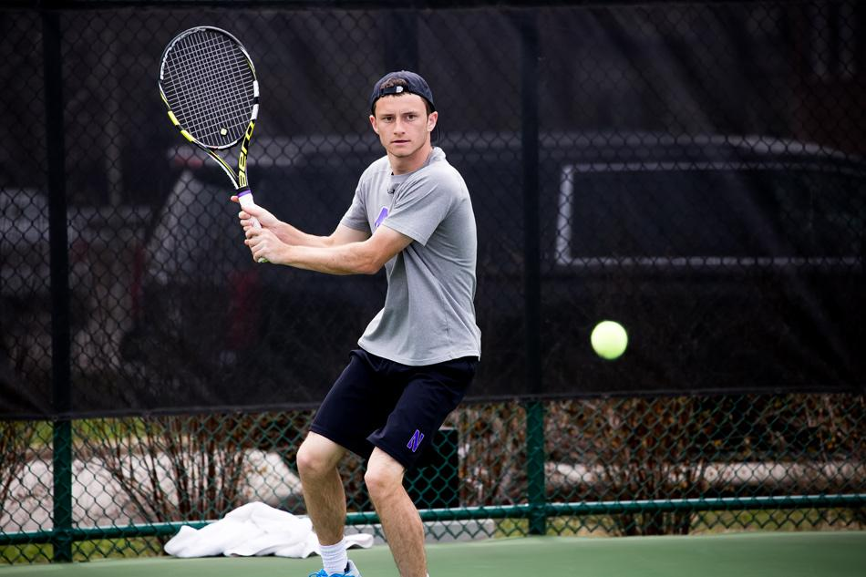Logan Staggs readies his return. The freshman lost the deciding match in Northwestern's 4-3 defeat against Minnesota.