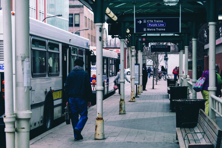 Buses wait at the Davis Street CTA station. Pace has plans to create a rapid transit line that runs between Evanston and O'Hare International Airport along Dempster Street.
