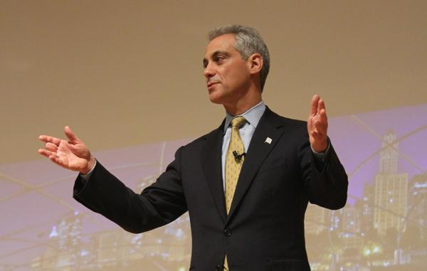 """Chicago mayor Rahm Emanuel speaks at Northwestern in 2012. Emanuel was re-elected to a second term Tuesday after a runoff race against Cook County Commissioner Jesus """"Chuy"""" Garcia."""