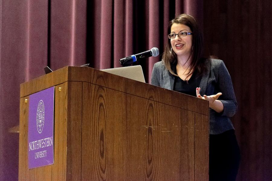 Blogger Anita Sarkeesian speaks Wednesday about the misrepresentation of women in video games. Sarkeesian, the founder of the blog Feminist Frequency, was invited to Northwestern as Public Affairs Residential College's annual speaker.