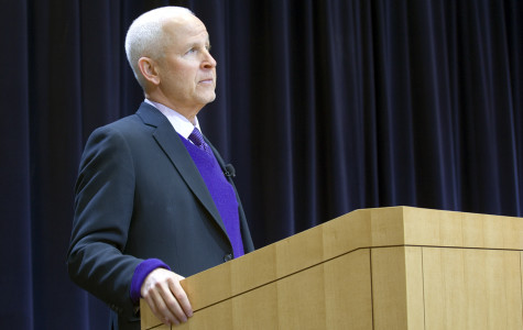 "University President Morton Schapiro discusses the status of the ""We Will"" campaign at his annual address on the state of the University. Schapiro and two other administrators answered staff and audience questions at the Thursday morning event."
