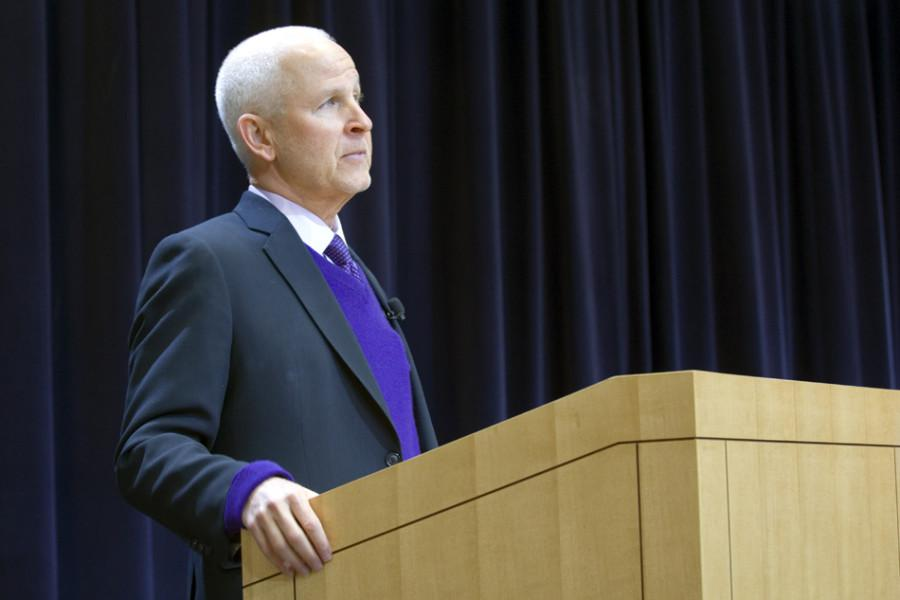 """University President Morton Schapiro discusses the status of the """"We Will"""" campaign at his annual address on the state of the University. Schapiro and two other administrators answered staff and audience questions at the Thursday morning event."""