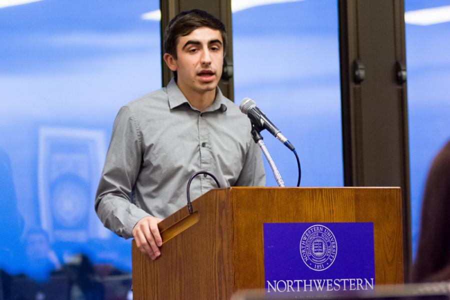 SESP+sophomore+Matt+Herndon+speaks+at+Senate+on+Wednesday.+Herndon+was+confirmed+as+vice+president+for+accessibility+and+inclusion.