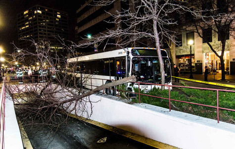 Shuttle crashes Monday in downtown Evanston