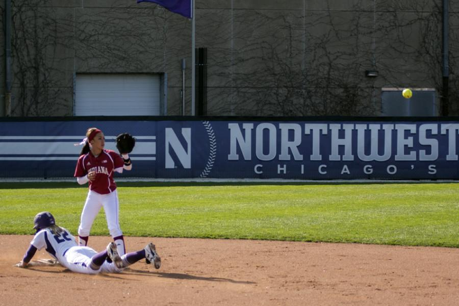 Brianna+LeBeau+dives+into+second+base.+The+junior+infielder+struggled+against+Notre+Dame%2C+going+0-for-3+at+the+plate.