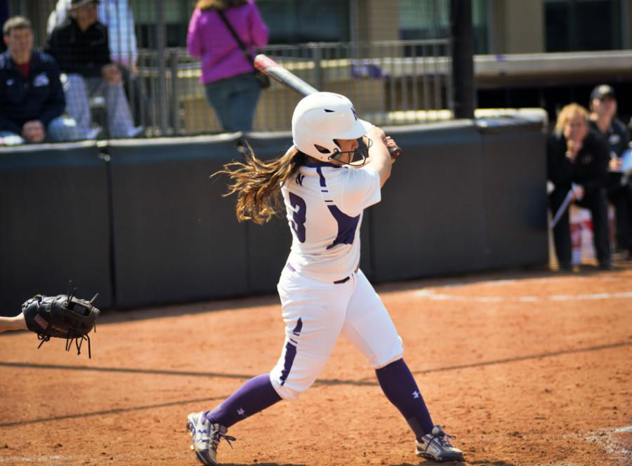 Freshman Brooke Marquez takes a big swing. Northwestern had trouble scoring against No. 15 Minnesota and was no-hit in Sunday's contest.