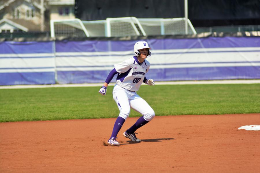 Andrea+Filler+takes+a+lead.+The+junior+infielder+paced+Northwestern+with+two+RBI+and+a+run+in+the+team%E2%80%99s+victory+Sunday.