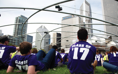 The class of 2017 sits atop Millennium Park's grass field as part of 2013's Wildcat Welcome programming. The excursion to Chicago has been cut from this year's orientation after the Chicago mayor's office reserved the park.