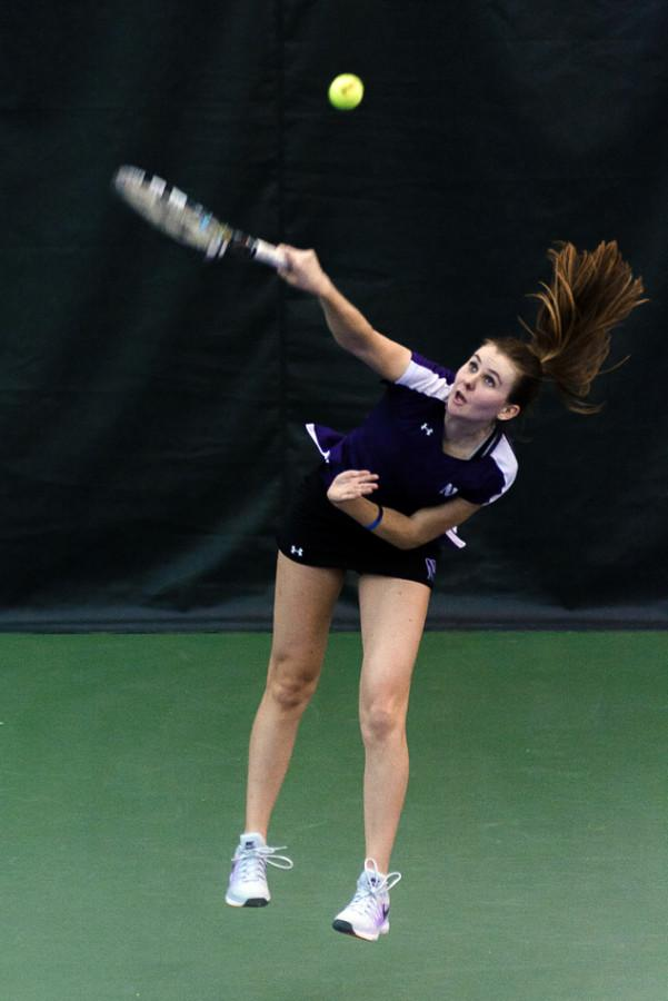 Freshman+Erin+Larner+smashes+a+serve.+Larner+is+looking+to+help+Northwestern+win+its+16th+Big+Ten+Tournament+in+the+past+17+years.