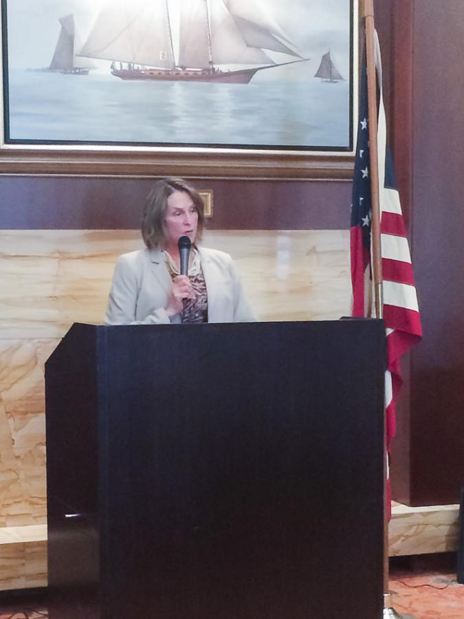 State Sen. Christine Radogno (R-Lemont) speaks Monday to the Republican Club of Evanston. The Senate minority leader emphasized working across party lines to improve the state's future.