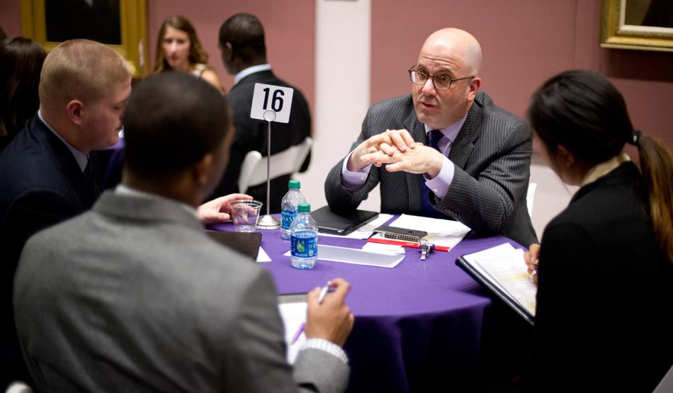 Northwestern student-athletes and industry professionals participate in the Wildcat Professional Excellence Program, a networking event hosted by NU For Life. The career services branch of the athletic department organizes many events specifically for student-athletes entering the workforce.