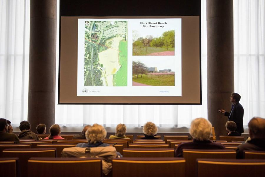 Landscape architect Ryan Kettelkamp speaks Thursday at the public meeting for the Clark Street Beach Bird Sanctuary Restoration Project. City officials unveiled a preliminary design for the project at the meeting.