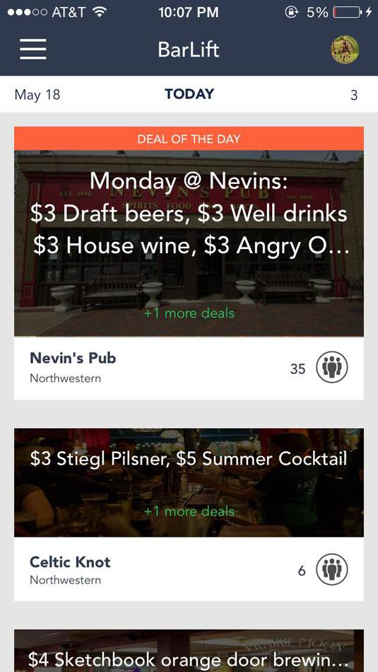 BarLift displays a list of local discounts in Evanston and Chicago bars. The application, created by Northwestern students, launched its second version this week.