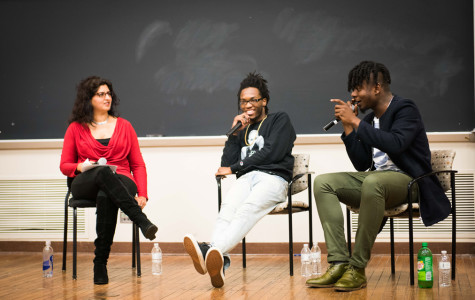 Chicago rappers Saba (center) and Mick Jenkins (right) discuss their brand of socially-conscious hip-hop with African American Studies Prof. Nitasha Sharma.