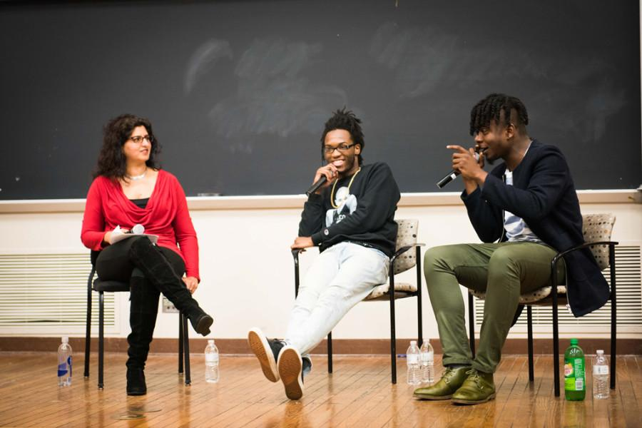 Chicago+rappers+Saba+%28center%29+and+Mick+Jenkins+%28right%29+discuss+their+brand+of+socially-conscious+hip-hop+with+African+American+Studies+Prof.+Nitasha+Sharma.