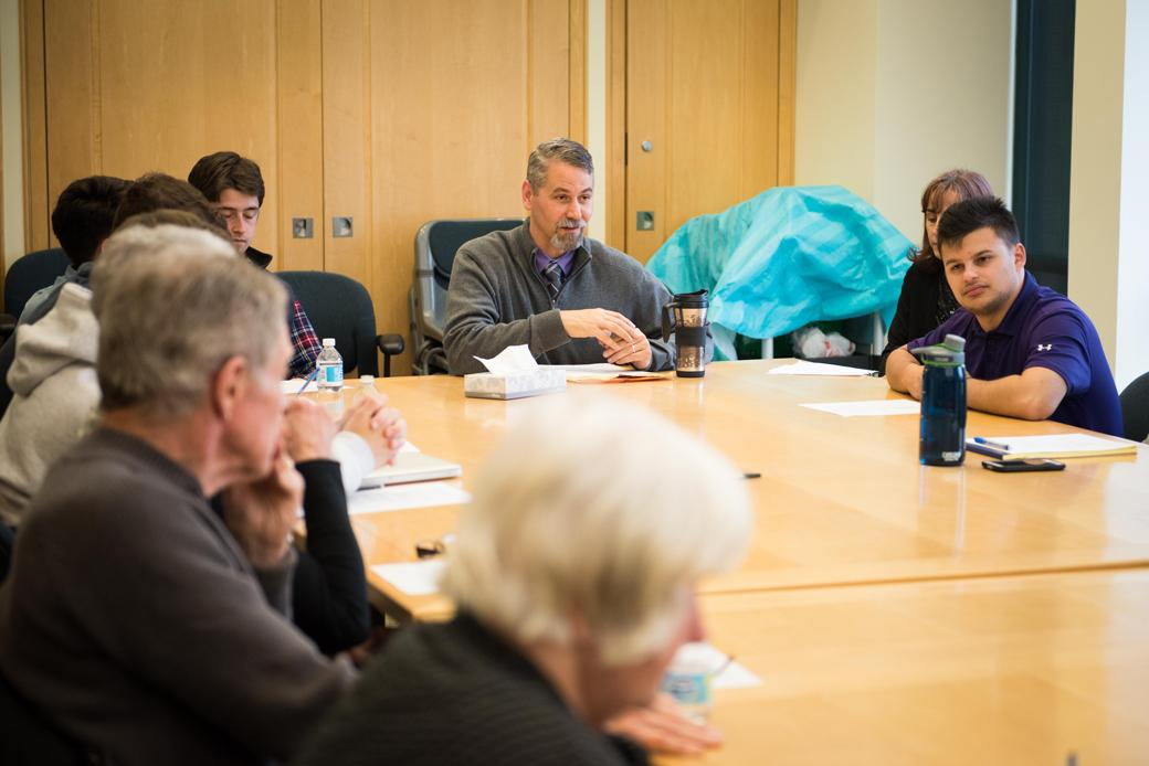 Tony Kirchmeier, NU's director of off-campus life, leads a meeting in which city and campus officials, as well as students and Evanston residents, discussed Dillo Day and other issues that affect the community.