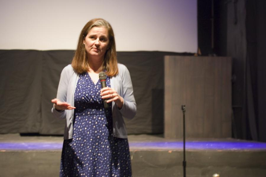 Kaethe Morris Hoffer answers questions about human trafficking and sexual exploitation. Morris Hoffer spoke after a screening of the documentary,