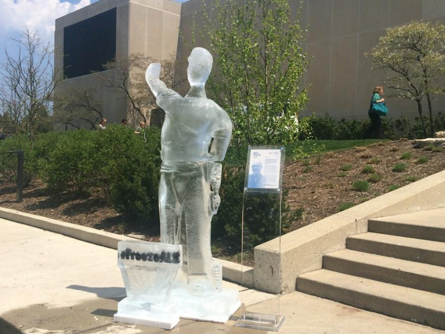 An ice sculpture of Jon Newsome, a Winnetka resident living with ALS, is displayed outside Norris University Center. The sculpture was one of 12 created to raise awareness of ALS.