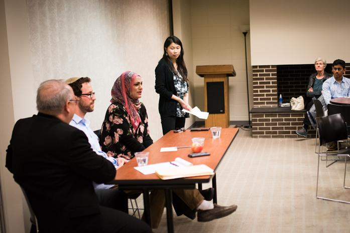 Sheil director Kevin Feeney, Rabbi Aaron Potek and associate chaplain Tahera Ahmad discuss stereotypes in their religions during an event hosted at the Sheil Catholic Center. The panel attracted about 40 attendees.