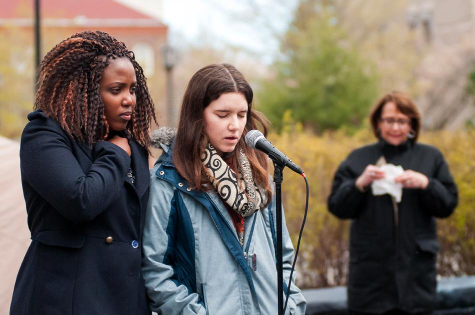 Stephanie Kuyah (left) and Maroua Sallami share stories about Weinberg junior Avantika Khatri at a memorial Thursday afternoon. Khatri died Monday afternoon in her off-campus residence.