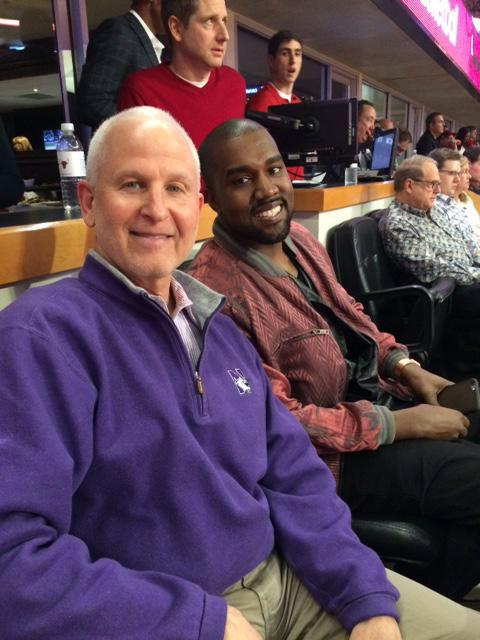 University President Morton Schapiro poses for a photo with rapper Kanye West at a Chicago Bulls game Sunday. Schapiro is an avid follower of Northwestern sports.