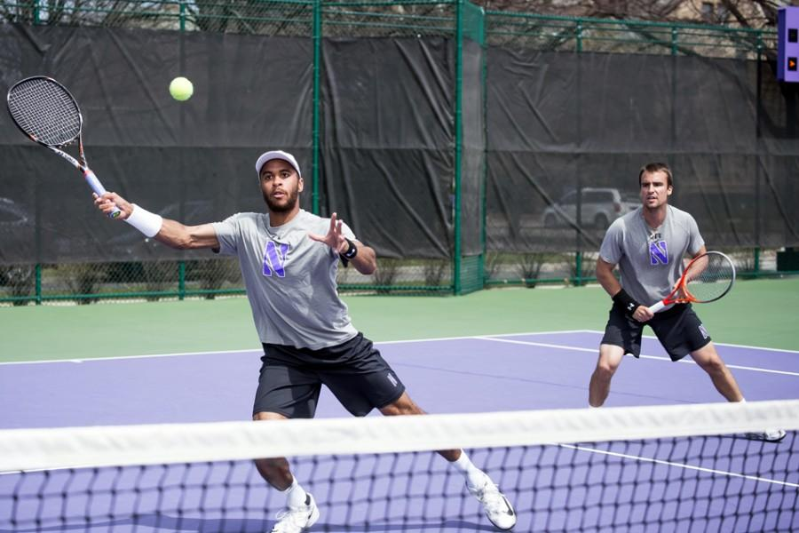 Sam+Shropshire+lunges+to+make+a+return.+The+sophomore+lost+both+of+his+singles+matches+over+the+weekend+as+Northwestern+was+eliminated+from+the+NCAA+Tournament.