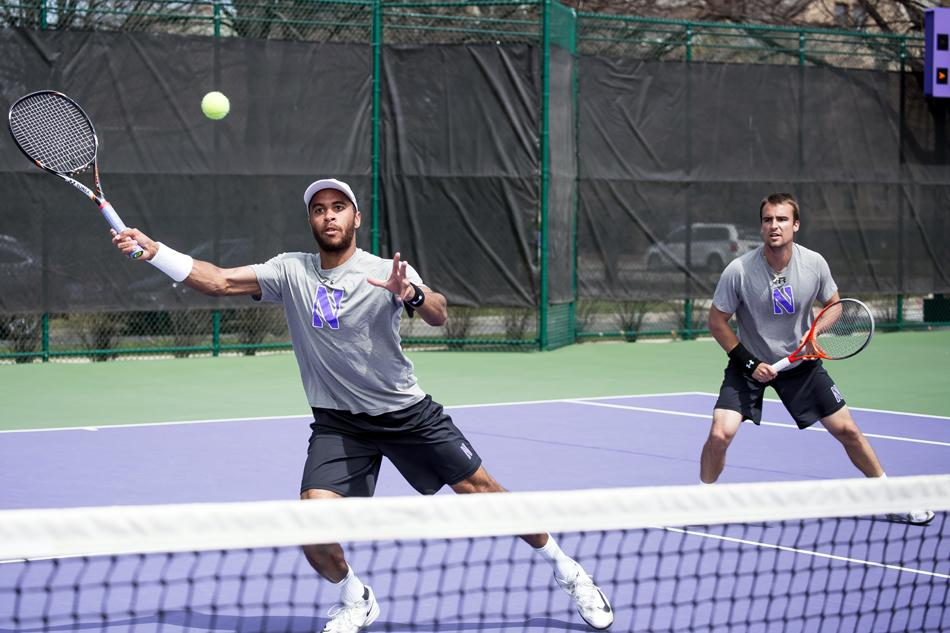 Sam Shropshire lunges to make a return. The sophomore lost both of his singles matches over the weekend as Northwestern was eliminated from the NCAA Tournament.