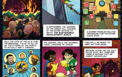 """The book """"Comics Uniting Nations"""" was created to help communicate the United Nation's Sustainable Development Goals. The team that made the book includes three Northwestern alumni."""