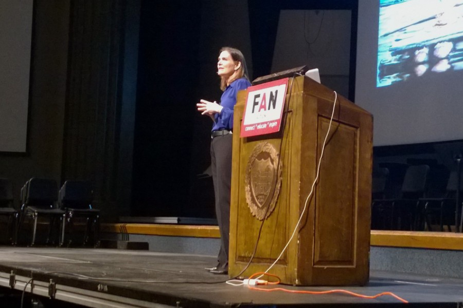 """Award-winning journalist and author Brigid Schulte urges an audience of about 200 to reassess how they think about time. Schulte spoke about her book, """"Overwhelmed: Work, Love and Play When No One Has the Time"""" at an event co-sponsored by the Women's Center."""
