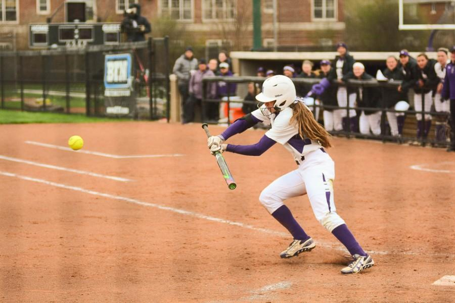 Centerfielder Sabrina Rabin slaps the ball. The Big Ten Freshman of the Year will be a key part of Northwestern's lineup when it opens up Big Ten Tournament play Friday against Purdue.