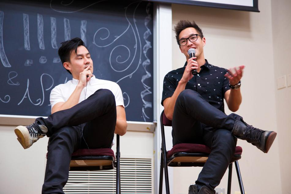 """Philip Wang (left) and Wesley Chan smile as they talk about the filmmaking process for their first movie, """"Everything Before Us."""" The YouTube celebrities came to Northwestern on Saturday for an advance screening hosted by the Chinese Students Association and Asian Pacific American Coalition."""