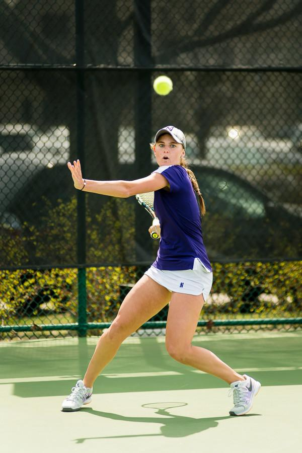 Brooke+Rischbieth+sets+up+for+a+big+return.+Playing+at+No.+6+singles%2C+the+sophomore+will+be+critical+for+Northwestern+in+a+close+match.