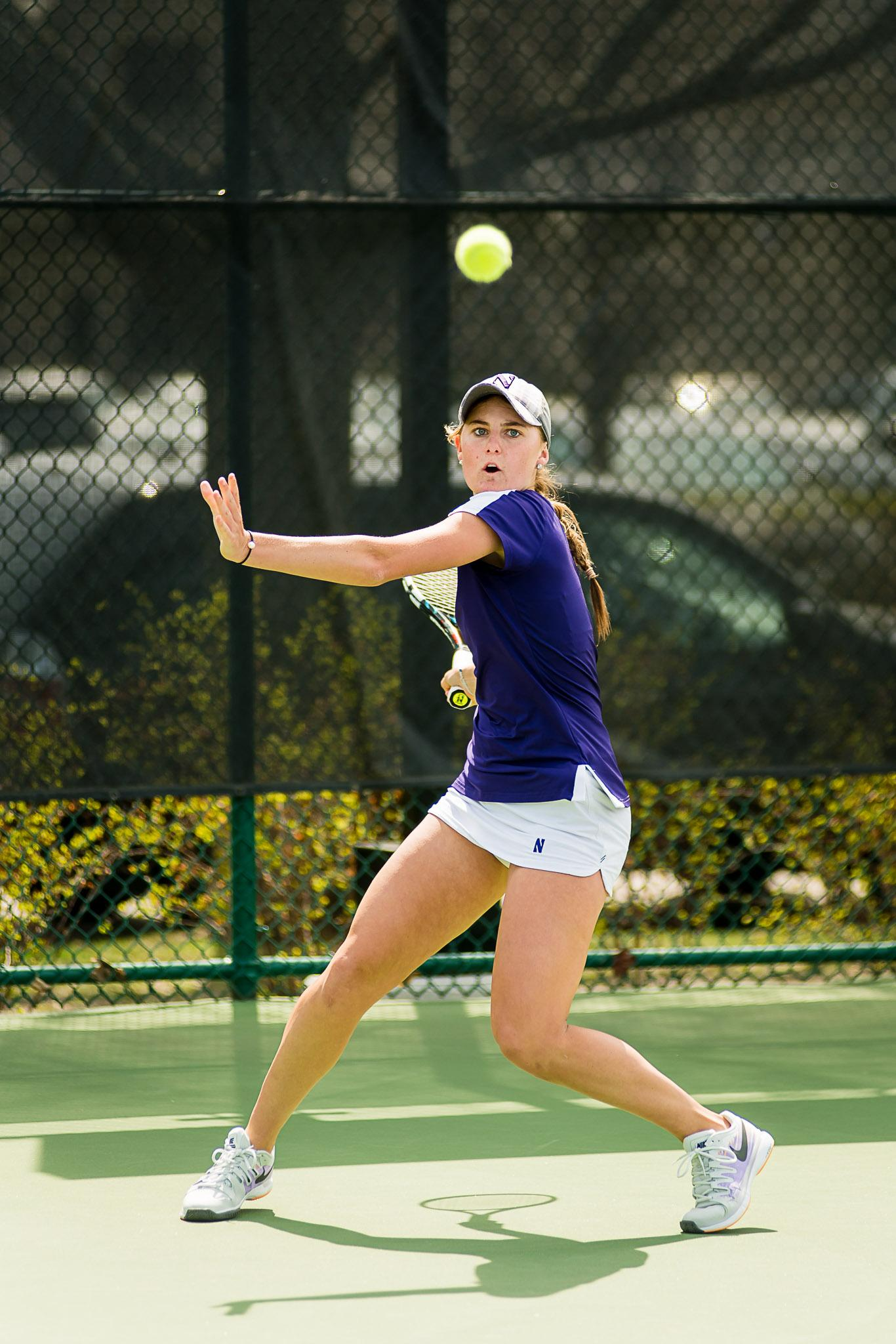 Brooke Rischbieth sets up for a big return. Playing at No. 6 singles, the sophomore will be critical for Northwestern in a close match.