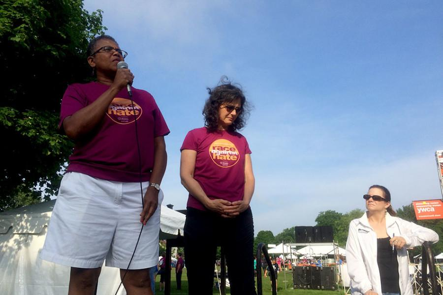 Sherialyn Byrdsong, widow of Ricky Byrdsong, speaks before the start of the 5K race in memorial of her husband. Sunday marked the 16th annual Race Against Hate in memorial of Ricky Byrdsong, a former Northwestern basketball coach killed in 1999.