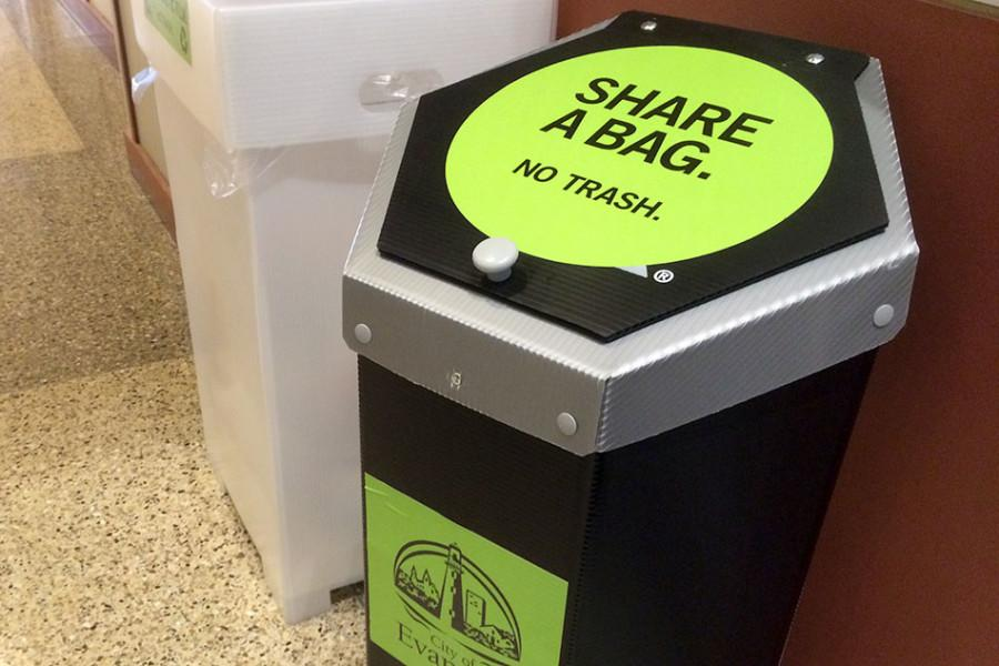 As part of Evanston's phase-out of plastic shopping bags in large retail stores, residents can pick up reusable bags and recycle plastic bags at 11 locations around the city, including the Evanston Public Library at 1703 Orrington Ave.