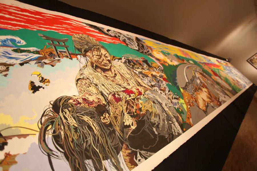 Painter Jave Yoshimoto's work was inspired by the 2011 earthquake and resulting tsunami in Japan, which killed tens of thousands of people. The exhibition, called